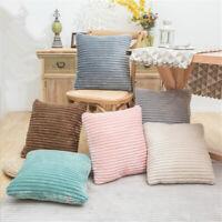NEW Pillowcase Cushioning Striped Flannel Fabric Super Soft Sofa Cushion Decor6A