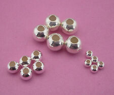 really 925 sterling Silver jewelry finding round glossy spacer bead for Bracelet