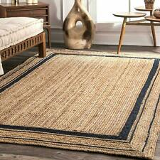 Jute Rugs Natural Braided 100% Jute Rug Reversible Handmade Runner Rustic look