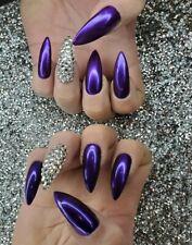 Purple metallic mirror stiletto nails bling press on nails  w/ silver crystals