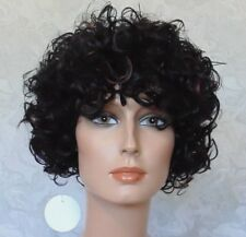 Short Super Curly Black Brown Highlighted Heat Resistant Full Synthetic Wig -115