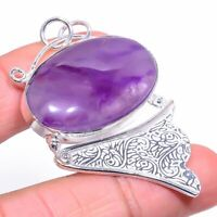 "Sage Amethyst Gemstone Handmade Ethnic Jewelry Pendant 2.17"""