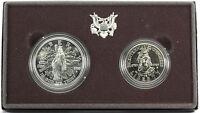 1989 D US Mint Congressional 2 Coin Set Silver Dollar Clad Half Dollar Box & COA