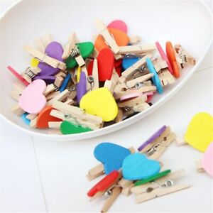 50pcs/lot Red Heart Love Wooden Clothes Photo Paper Peg Pin Mini Clothespin Post