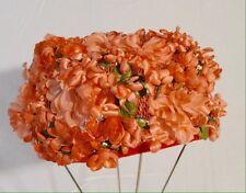 Ladies Vintage Orange Silk Floral Pillow Box Hat