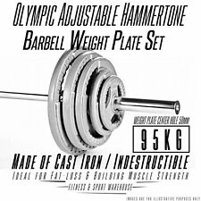 95kg Olympic Hammertone Barbell Weight Plate Set Fitness Gym Exercise Gear