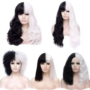Women Wig Cosplay Wig Black White Synthetic Long Curly Wigs+Wig Cap