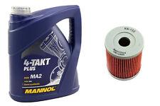 10W40 Motoröl Set 4 Liter Ölfilter KN132 für Arctic Cat 250 Suzuki LT-F LT-Z 160