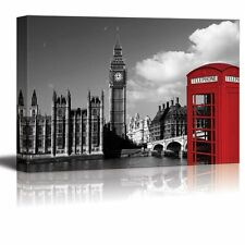 Pop of Color on a Red Telephone Booth in London - Canvas Art - 16x24 inches