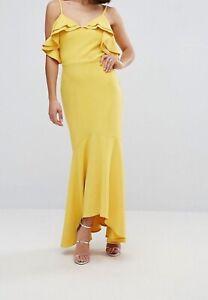 Zack Women's Yellow Ruffle Bust Fishtail Maxi Dress Size 10
