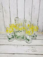 1960s Iced Tea Pitcher And 5 Matching Tumblers With Botanical Leaves Made By...