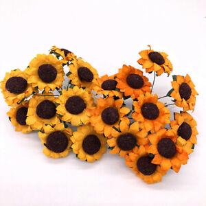 10/30Pcs Sunflower Bouquet Artificial Silk Fake Flowers Wedding Home Floral