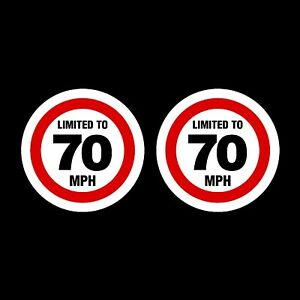 2x Limited to 70 MPH Vehicle Speed Restriction Sticker/Decal - Car, Van, Lorry