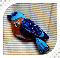 Hand made Song Bird Beaded Felt Ornaments Bluebird Christmas Ornament