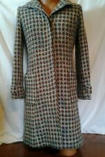 Guess Marciano Coat Womens Coat sz S / P Knee Peacoat Turquoise Brown Geometric