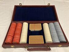 Vintage Plastic Swirl Poker Chips Top Hat Design With Case