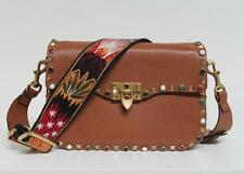 New Valentino $4145 Camel Rockstud Rolling Guitar Strap Cabochon Bag