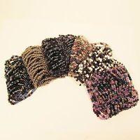 6PC Handmade Beaded Black Purple Stretch Elastic Bracelets WHOLESALE LOT 6 Color