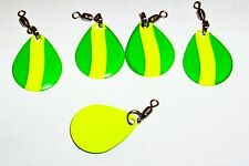 ( 5 )  GREEN AND YELLOW #2  COLORADO SPINNER BLADES W/ SWIVEL AND SPLIT  RING