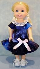 14 Inch Doll Clothes - Navy Galaxy Print Dress handmade by Jane Ellen