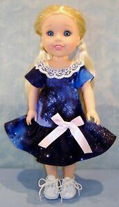 14 Inch Doll Clothes - Navy Galaxy Print Dress handmade by Jane Ellen