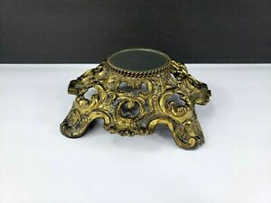 Antique Vintage Small Brass Ornate Round Table Small Mirror- Heavy