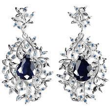 45x24 mm. Ohrringe, 925 Silber, Weißgold beschichtet, Blau Saphier & Zirconia
