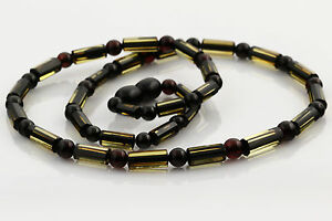Greenish Cyliners Beads Genuine BALTIC AMBER Unisex Men Necklace 8g n160309-2
