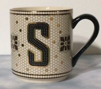 "Anthropologie Margot Tile Monogram ""S"" Mug White/Black/Gold Mosaic ~EUC"