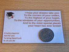 Graduation - Sixpence Wallet Card - Good Luck - Keep Sake Gift - Real Sixpence
