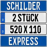 2 Stück EU KFZ Nummernschilder  Kennzeichen  Autoschilder , EU Größe 520x110 mm