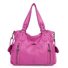 Angelkiss Women's Fashion Tote bag Multiple Pockets Purses Handbags Soft Leather