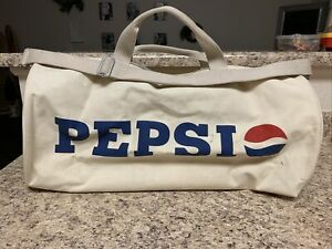 Vintage Pepsi Cola Duffel Bag Heavy duty Off White Canvas Large Iuggage bag Rare