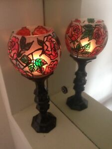 One Tall Red Rose Art Vase Glass & Candle Holder Wedding light & Tea Light