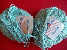Pingouin Mikado cotton blend textured yarn, mint, lot of 2 (88 yds each)
