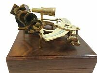 "8"" Antique Maritime Brass Nautical Sextant Astrolabe Working Sextant Wooden Box"