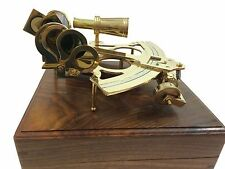 """8"""" Antique Maritime Brass Nautical Sextant Astrolabe Working Sextant Wooden Box"""
