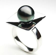 Pacific Pearls® Genuine 11mm Tahitian Black Pearl Ring Silver Anniversary Gifts