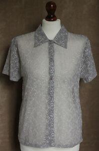 BNWT Short Sleeve Grey Mesh Floral Pattern Shirt - Size S* - Kushi