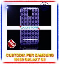 Pellicola+Custodia Grid Viola per Samsung I9100 Galaxy S2 plus I9105