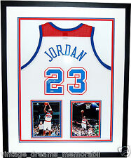 VERY RARE Framed Michael Jordan UDA Washington BULLETS Throwback Signed Jersey