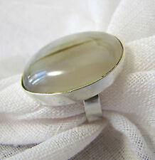 OVAL CUT INNER GLOW STRIPPED ONYX STATION IN BEZEL STERLING SILVER  RING ADJUS