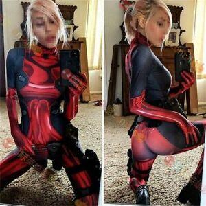 Lady Deadpool Cosplay Red Jumpsuit Halloween Costume Adult Kids