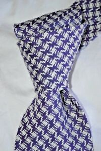 "$250 NWT TOM FORD White w/ PURPLE Houndstooth check 3.6"" woven silk tie Italy"