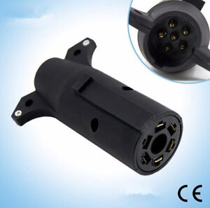 7 Pin Blade to 6 Pin Round Trailer Adapter Trailer Plug Wire Connector Socket