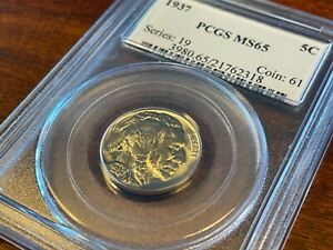 1937 BUFFALO NICKEL - PCGS MS-65