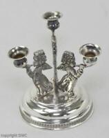 Kerzen Halter Leuchter in 800 er Silber mit drei Engel Miniatur Kandelaber antik