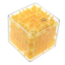 Yellow 3d Maze Magic Cube Labyrinth Rolling Twist Toy Puzzle Game For Adult Kid