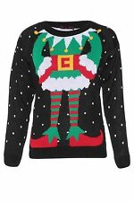 Womens Ladies Sam Novelty Ugly Elf Body Christmas Xmas Knitted Jumper Sweater