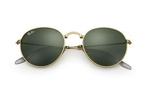 NEW RAY-BAN ROUND SUNGLASSES Gold Frame / Green G-15 Lenses 3447 001 50-21